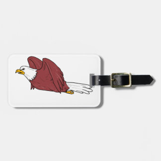 Bald Eagle Flying Cartoon Luggage Tag