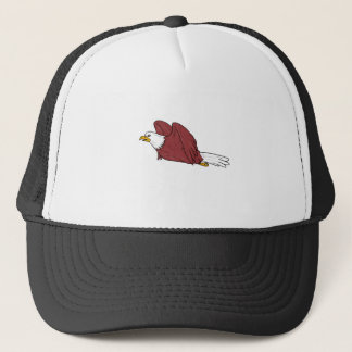 Bald Eagle Flying Cartoon Trucker Hat
