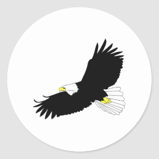 Bald Eagle Flying Round Stickers