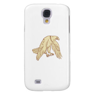 Bald Eagle Flying Wings Down Drawing Galaxy S4 Case