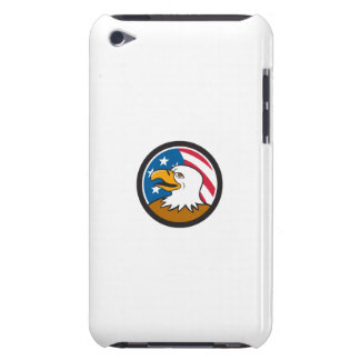 Bald Eagle Head Smiling USA Flag Circle Cartoon iPod Touch Case