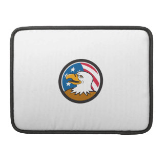 Bald Eagle Head Smiling USA Flag Circle Cartoon MacBook Pro Sleeve