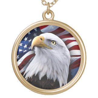 Bald Eagle in front of American Flag Gold Plated Necklace