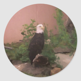 Bald Eagle in Paint Classic Round Sticker