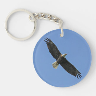Bald Eagle Single-Sided Round Acrylic Keychain