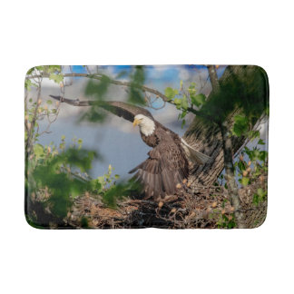Bald Eagle leaving the nest Bath Mat