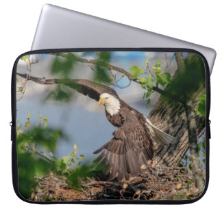 Bald Eagle leaving the nest Laptop Sleeve