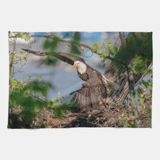 Bald Eagle leaving the nest Tea Towel