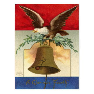 bald eagle liberty bell patriotic vintage art postcard