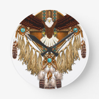 Bald Eagle Mandala - revised Round Clock