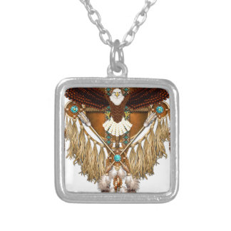 Bald Eagle Mandala - revised Silver Plated Necklace