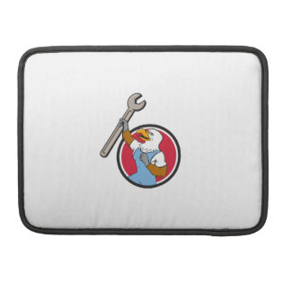 Bald Eagle Mechanic Spanner Circle Cartoon MacBook Pro Sleeves