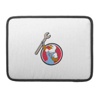 Bald Eagle Mechanic Spanner Circle Cartoon Sleeve For MacBooks