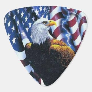 Bald Eagle on American Flag Lightening Plectrum