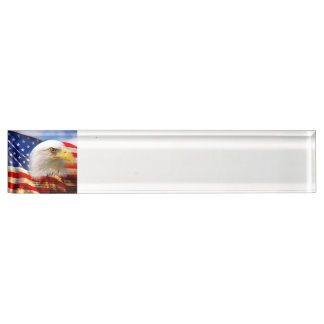 Bald Eagle on American Flag red white blue Name Plate