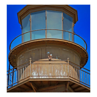 bald eagle on lighthouse rail poster