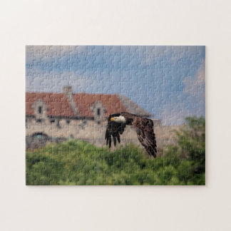 Bald Eagle passing Fort Ticonderoga Jigsaw Puzzle