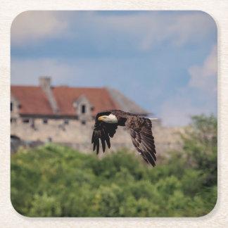 Bald Eagle passing Fort Ticonderoga Square Paper Coaster