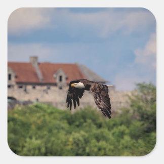 Bald Eagle passing Fort Ticonderoga Square Sticker