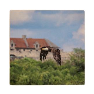 Bald Eagle passing Fort Ticonderoga Wood Coaster
