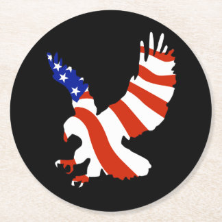 Bald Eagle Patriotic Flag Round Paper Coaster