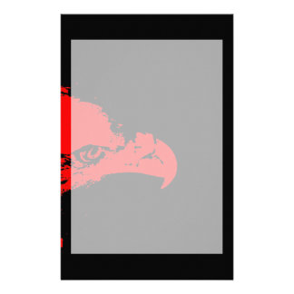 bald eagle red graphical facing right black bac personalized stationery