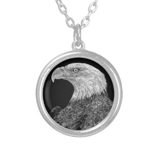 Bald Eagle Scratchboard Silver Plated Necklace
