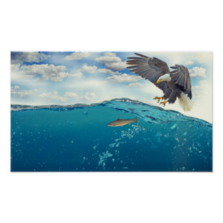 Bald Eagle Sea Attack Poster