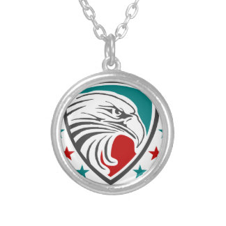 Bald Eagle Security And Protection Silver Plated Necklace