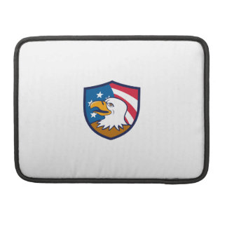 Bald Eagle Smiling USA Flag Crest Cartoon Sleeve For MacBooks