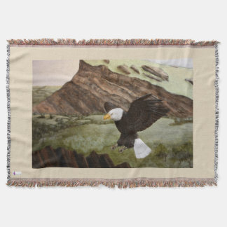Bald Eagle Throw Blanket Tan