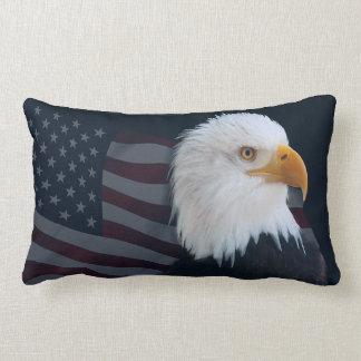 Bald eagle Usa flag Lumbar Cushion