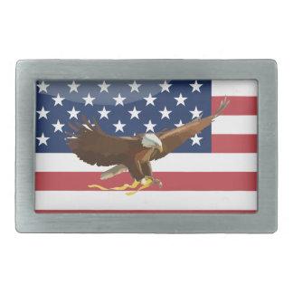 Bald eagle Usa flag Rectangular Belt Buckle