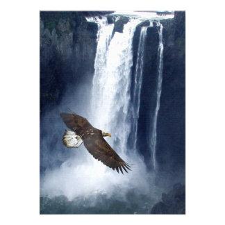 Bald Eagle Waterfall Invitation Cards