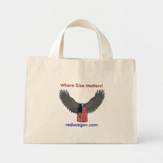 Bald Eagle, Where Size Matters!, reducegov.com Mini Tote Bag