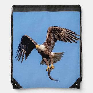 Bald Eagle with a fish Drawstring Bag