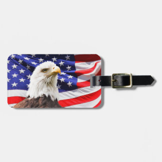 Bald Eagle with American Flag background Luggage Tag