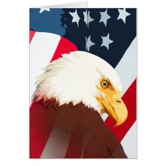 Bald Eagle With American Flag Greeting Card