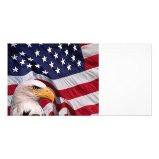 Bald Eagle with American Flag Custom Photo Card
