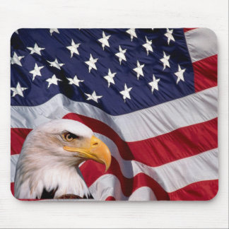 Bald Eagle with American Flag in the background Mouse Pad