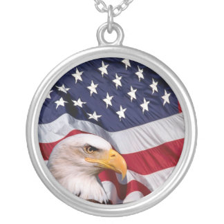 Bald Eagle with American Flag Round Pendant Necklace