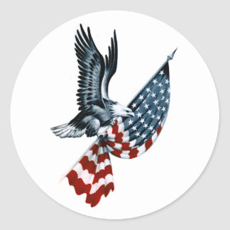 Bald Eagle with American Flag Round Sticker