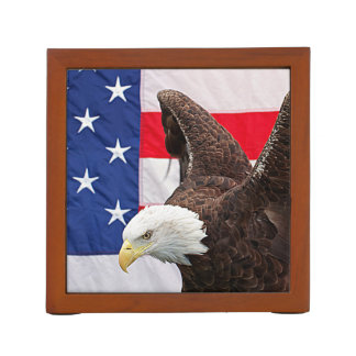 Bald Eagle with the American Flag Desk Organiser