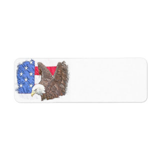 Bald Eagle with the American Flag Return Address Label