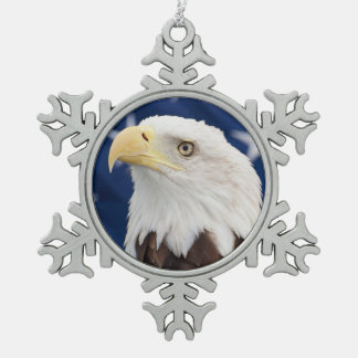 Bald Eagle with the American Flag Snowflake Pewter Christmas Ornament