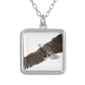 Bald Eagle with wings on down stroke Silver Plated Necklace