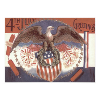 Bald Eagle Wreath American Shield Fireworks Card