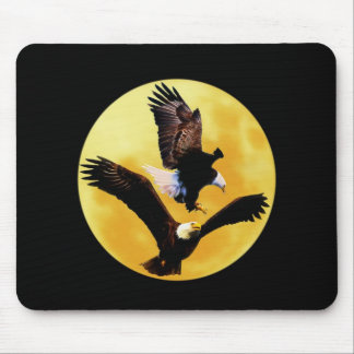Bald eagles and full moon mouse pad