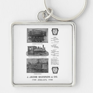 Baldwin Locomotive Works Contractor's Locomotives Silver-Colored Square Key Ring