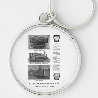 Baldwin Locomotive Works Contractor's Locomotives Silver-Colored Round Key Ring